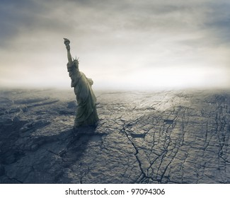 Statue of Liberty on apocalyptic background