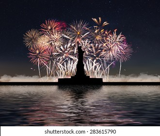 Statue of Liberty on the background of fireworks and starry sky, independence day