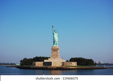 Statue of Liberty on Liberty Island in the morning in New York City, USA
