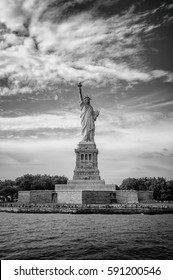 Statue of Liberty on Liberty Island, New York City, USA, Black and white