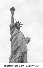 Statue of Liberty on Liberty Island in New York Harbor in New York City in the United States - black and white version