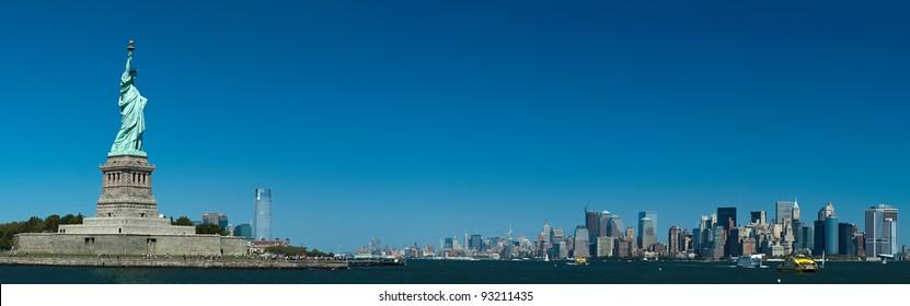 The Statue of Liberty on Liberty Island, New York City panorama photo