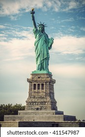 Statue of Liberty on Liberty Island on a sunny day, New York City, USA, vintage filtered style