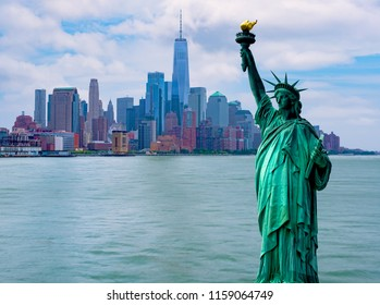 The Statue of Liberty with One World Trade Center background,New York city with Statue of Liberty skyline cityscape, Landmarks of New York City, USA