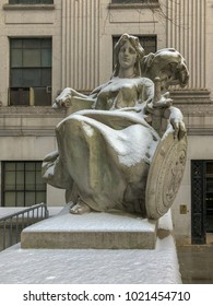 Statue of liberty outside the Thurgood Marshall United States Courthouse Classical Revival courthouse in lower Manhattan in New York City.