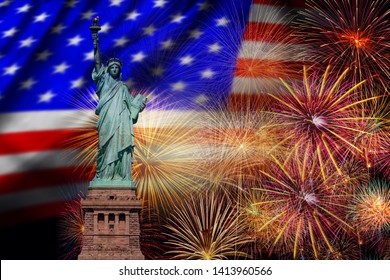 Statue of Liberty over the Multicolor Fireworks Celebrate with the United state of America USA flag background, 4th of July and Independence day concept