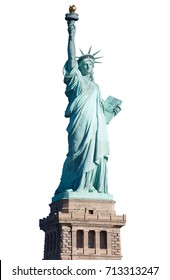 Statue of Liberty with pedestal isolated on white, clipping path
