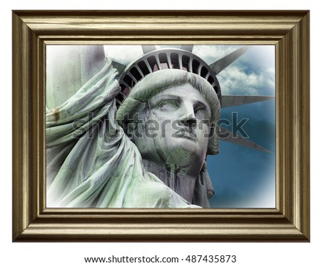 Statue Liberty Portrait Frame Frame Gold Stock Photo Edit Now