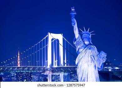 Statue of Liberty and Rainbow Bridge in Odaiba, Tokyo