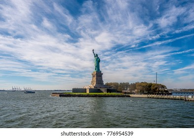 Statue of Liberty sculpture on Liberty Island in New York Harbor in New York City