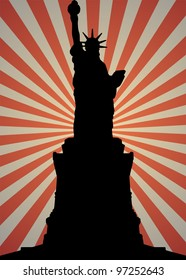Statue of Liberty Silhouette with sunburst background