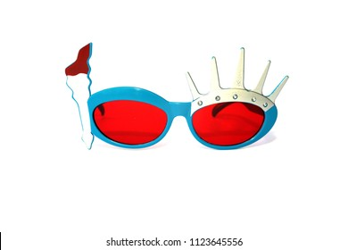 Statue of Liberty Sunglasses. Isolated on white. room for text. red lens 4th of july glasses.