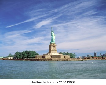 Statue of Liberty at sunny day.