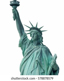Statue of Liberty - Symbol of New York, isolated on white.