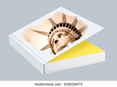 Statue of Liberty as a title picture in white blank book with hard cover