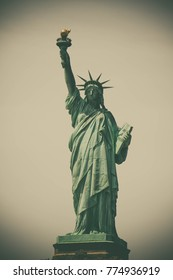 Statue of Liberty with vignette vintage color style, New York