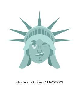 Statue of Liberty winks Emoji. US landmark statue face happyl emotion isolated