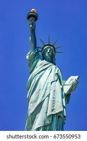 Statue of Liberty/Statue of Liberty in the blue sky. A symbol of American freedom.