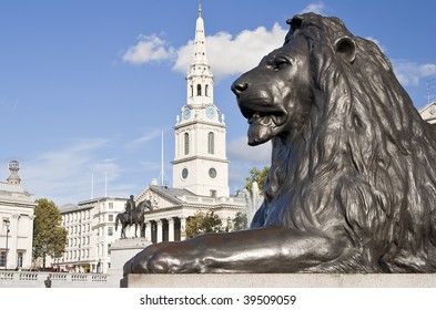 Statue of a lion in the Nelson column in Trafalgar Square in London