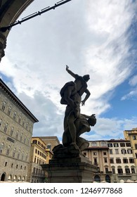 Statue in Loggia dei Lanzi (The Rape of the Sabine Women) in Florence, Italy.