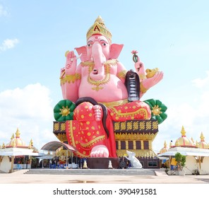 Statue of Lord Ganesh sitting on a throne at Chachoengsao province, Thailand