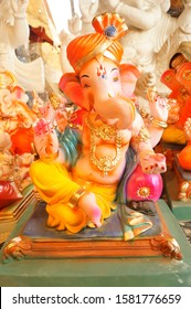 Statue of Lord Ganesha Made from plaster of Paris with color. Ready for Lord Ganesha colorful Statue for Ganesha festival