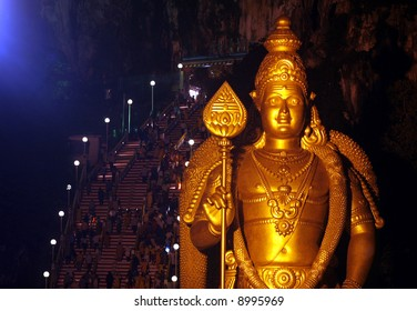 Statue of Lord Murugan during Hindu festival of Thaipusam in Malaysia.