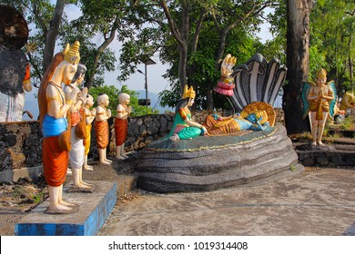 Statue of Lord Vishnu resting on Sheshnaag (snake), with wife Lakshmi sitting and Lord Brahma, Nilkantheshwar Temple