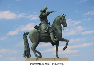 Statue of Louis XIV on horseback outside Palace of Versailles
