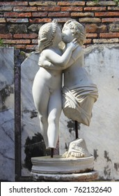 Statue of Love and Psyche in Ostia Antica. Rome, Italy