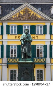 A statue of Ludwig Van Beethoven pictured infront of a former city palace - now the main post office, in the historic city of Bonn in Germany.  Beethoven was born in Bonn.
