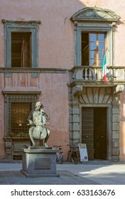 Statue of Luigi Boccherini in front of the Conservatory or Music Institute named after him - Lucca, Tuscany, Italy