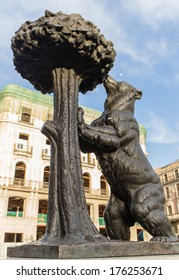 The statue of the Madrid Bear and the Strawberry Tree is the symbol of the city of Madrid Spain. Puerta del Sol town Square.