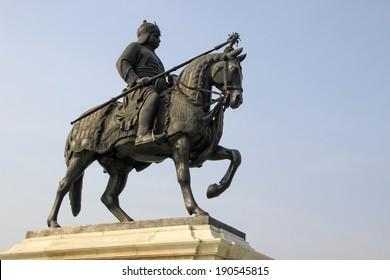 Statue of Maharana Pratap with sword riding on his horse Chetak at Pratap Smarak on Moti Magri Hill in Udaipur, Gujarat, India, Asia