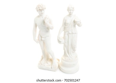 Statue of a man and woman gods on a white background isolation