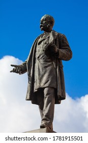 Statue of Marco Minghetti in Piazza San Pantaleo from Rome in Italy . Italian economist and statesman from 19th century
