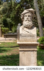 Statue of Marco Polo in in park in Rome, Italy