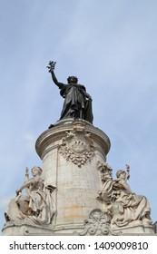 Statue of Marianne, personification of France and symbol of the Republic, located in Place de la Republique, Paris