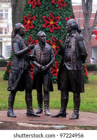 Statue of the Marquis de Lafayette informing General George Washington and Colonel Alexander Hamilton that the French will support the Americans.  Located on the Morristown Green in New Jersey.
