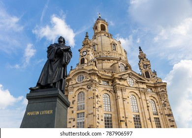 Statue of Martin Luther in front of the Frauenkirche in Dresden, Saxony, Germany