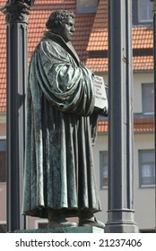 statue of martin luther in the town of wittenberg, germany