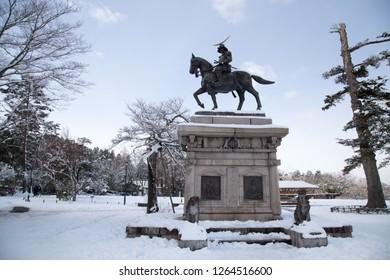Statue of Masamune Date in Aobayama Park Sendai, Miyagi Prefecture, Japan