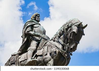 Statue of Matthias Rex in the city center of Cluj-Napoca, Romania