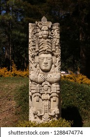 Statue of Mayan symbolism in the sunshine in Sololá, Guatemala