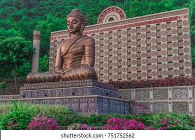 The statue of meditating lord buddha in vizag city