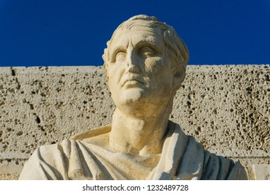 The statue of Menander - the dramatist of the ancient world. Acropolis, Athens