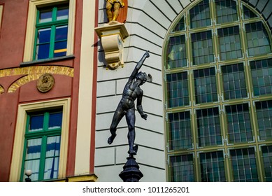 Statue of Mercury at Artus Court in the main square Gdansk Poland
