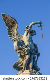 Statue of Michael the Archangel with sword (designed in 1753) on top of the Castel Sant Angelo in Rome Italy
