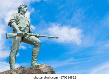 statue of minuteman in Lexington, Massachusetts