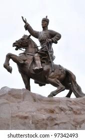 Statue of Mongolian revolutionary hero Sukhbaatar in Sukhbaatar Square, Ulaanbaatar.